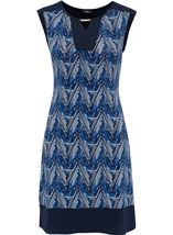 Printed Sleeveless Stretch Midi Dress Navy/White - Gallery Image 3