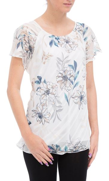 Anna Rose Bias Cut Floral Georgette Top Ivory/Teal