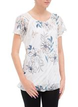 Anna Rose Bias Cut Floral Georgette Top Ivory/Teal - Gallery Image 1