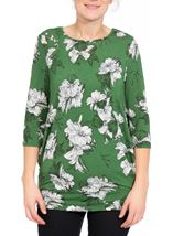 Floral Print Lightweight Tunic Green - Gallery Image 2