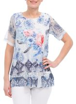Anna Rose Printed Lace Layered Top Multi Blue - Gallery Image 1
