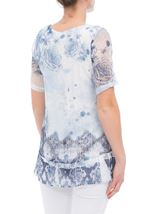 Anna Rose Printed Lace Layered Top Multi Blue - Gallery Image 2