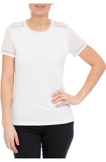Anna Rose Lace Trim Jersey Top - Optic White