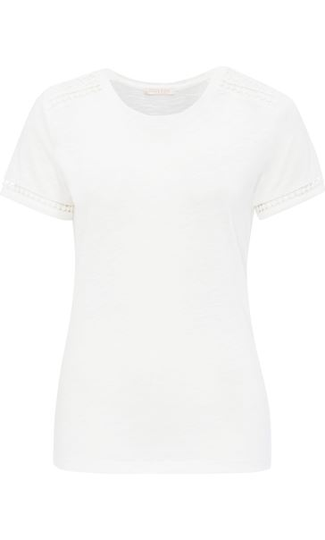 Anna Rose Lace Trim Jersey Top Optic White
