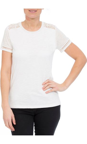 Anna Rose Lace Trim Jersey Top Optic White - Gallery Image 2