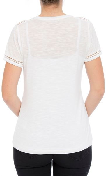 Anna Rose Lace Trim Jersey Top Optic White - Gallery Image 3