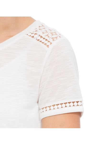 Anna Rose Lace Trim Jersey Top Optic White - Gallery Image 4