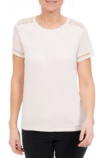 Anna Rose Lace Trim Jersey Top - Pale Pink