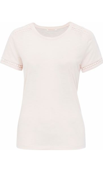 Anna Rose Lace Trim Jersey Top Pale Pink