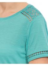 Anna Rose Lace Trim Jersey Top Ocean - Gallery Image 4