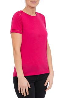 Anna Rose Lace Trim Jersey Top - Berry