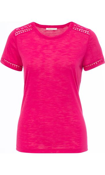 Anna Rose Lace Trim Jersey Top Berry