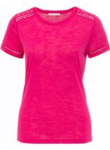 Anna Rose Lace Trim Jersey Top Berry - Gallery Image 1