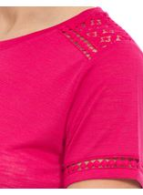 Anna Rose Lace Trim Jersey Top Berry - Gallery Image 4