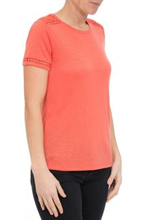 Anna Rose Lace Trim Jersey Top - Coral