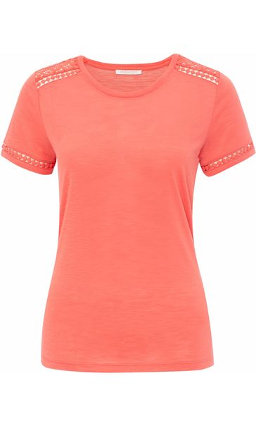 Anna Rose Lace Trim Jersey Top Coral
