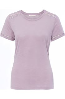 Anna Rose Lace Trim Jersey Top - Dusty Pink
