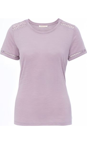 Anna Rose Lace Trim Jersey Top Dusty Pink