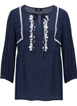 Embroidered Long Sleeve Top Midnight/White - Gallery Image 1