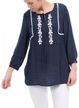 Embroidered Long Sleeve Top Midnight/White - Gallery Image 2