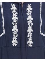Embroidered Long Sleeve Top Midnight/White - Gallery Image 4