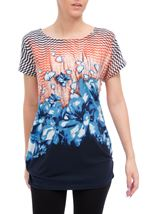 Printed Short Sleeve Tunic Navy/Peach - Gallery Image 2