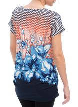Printed Short Sleeve Tunic Navy/Peach - Gallery Image 3