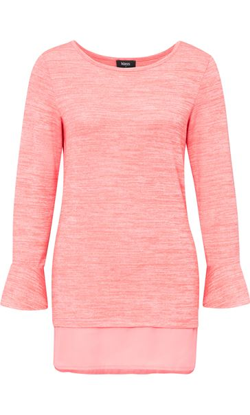 Fluted Long Sleeve Lightweight Knit Top Coral/White