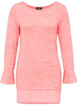 Fluted Long Sleeve Lightweight Knit Top Coral/White - Gallery Image 1