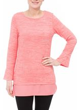 Fluted Long Sleeve Lightweight Knit Top Coral/White - Gallery Image 2