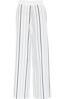 Wide Leg Striped Pull On Crepe Trousers