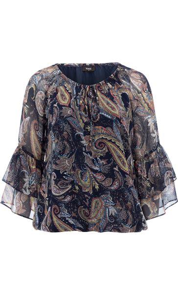 Paisley Printed Layered Sleeve Top Midnight/Peach