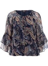Paisley Printed Layered Sleeve Top Midnight/Peach - Gallery Image 1