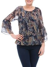 Paisley Printed Layered Sleeve Top Midnight/Peach - Gallery Image 2