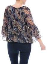 Paisley Printed Layered Sleeve Top Midnight/Peach - Gallery Image 3