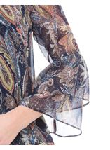 Paisley Printed Layered Sleeve Top Midnight/Peach - Gallery Image 4
