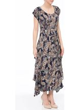 Paisley Printed Pleat Midi Dress