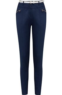 Belted Slimline Stretch Trousers - Midnight