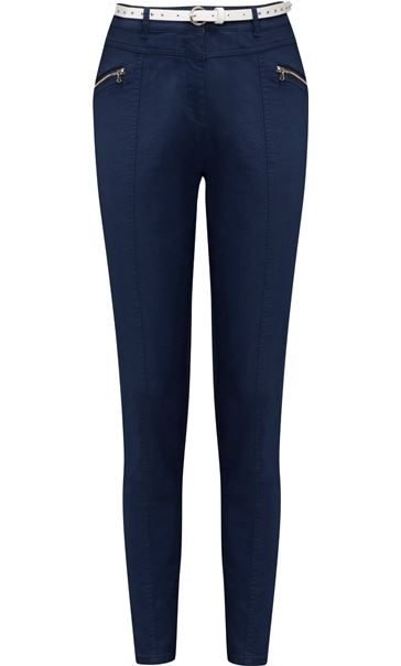 Belted Slimline Stretch Trousers Midnight