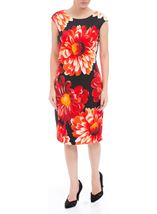 Bold Floral Sleeveless Midi Scuba Dress Black/Red - Gallery Image 1