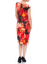Bold Floral Sleeveless Midi Scuba Dress Black/Red - Gallery Image 2