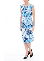 Floral Print Sleeveless Midi Scuba Dress Ivory/Blue - Gallery Image 1