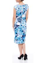 Floral Print Sleeveless Midi Scuba Dress Ivory/Blue - Gallery Image 2