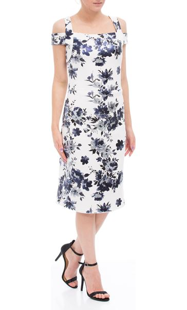 Floral Foil Printed Cold Shoulder Scuba Dress Ivory/Blue