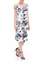 Floral Foil Printed Cold Shoulder Scuba Dress Ivory/Blue - Gallery Image 1