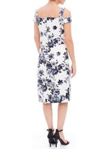 Floral Foil Printed Cold Shoulder Scuba Dress Ivory/Blue - Gallery Image 2