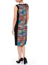Textured Printed Panel Fitted Midi Dress Multi Print - Gallery Image 2