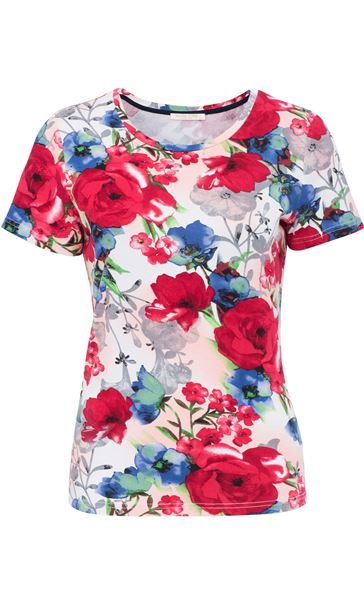 Anna Rose Botanical Short Sleeve Jersey Top Raspberry Floral