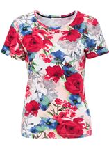 Anna Rose Botanical Short Sleeve Jersey Top Raspberry Floral - Gallery Image 1