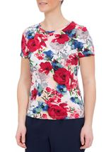 Anna Rose Botanical Short Sleeve Jersey Top Raspberry Floral - Gallery Image 2